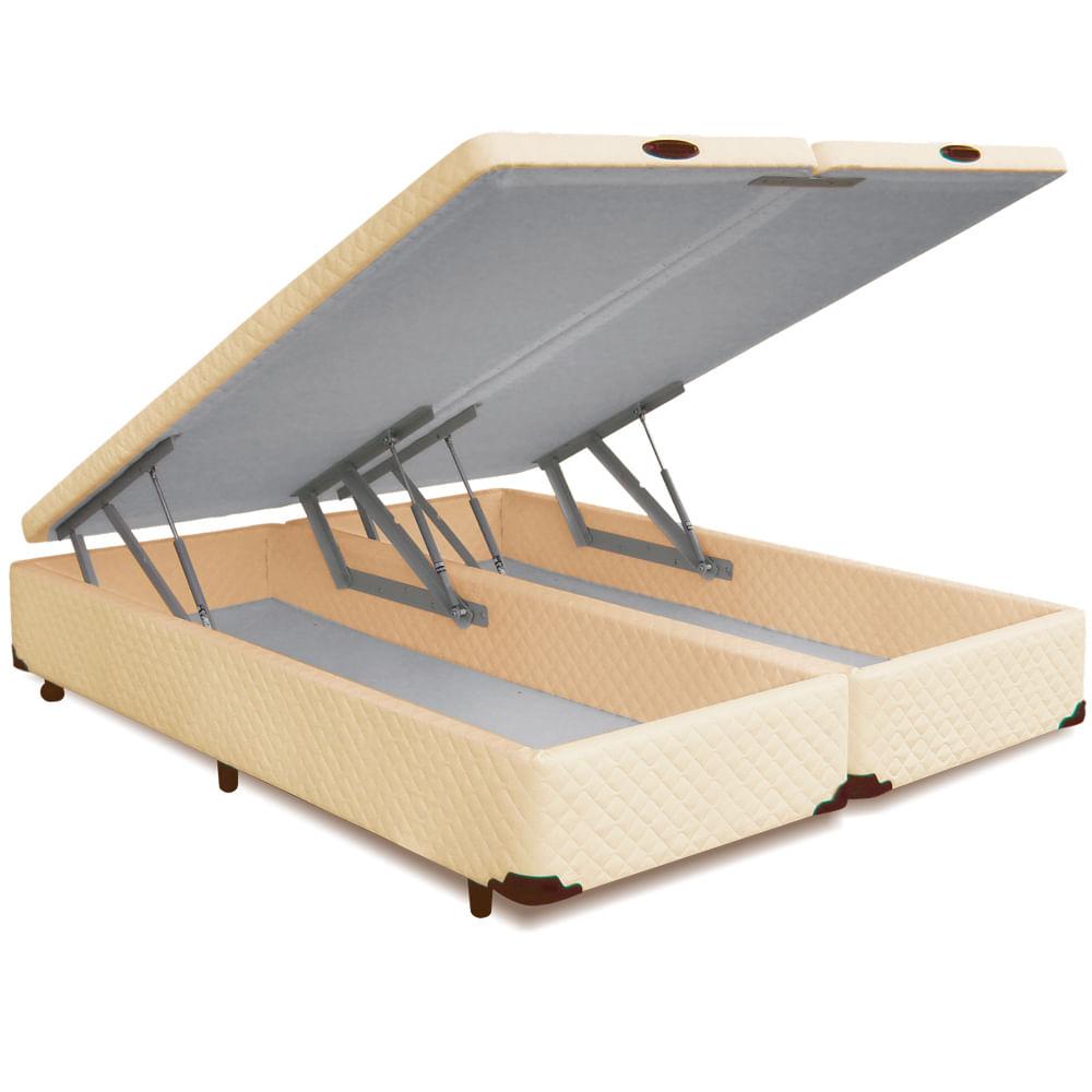 Bau De Cama Casal ~ Cama Box Bipartido CASAL Pist u00e3o Bau Frontal Novo Bege