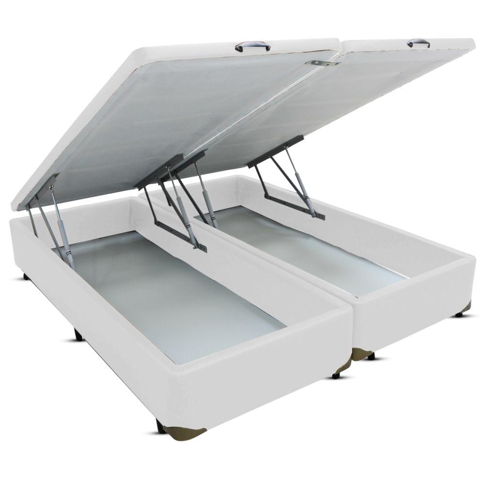 9cff6e67e6 Cama Box Bau Frontal Pistão Corano Branco - Classe A Colchões