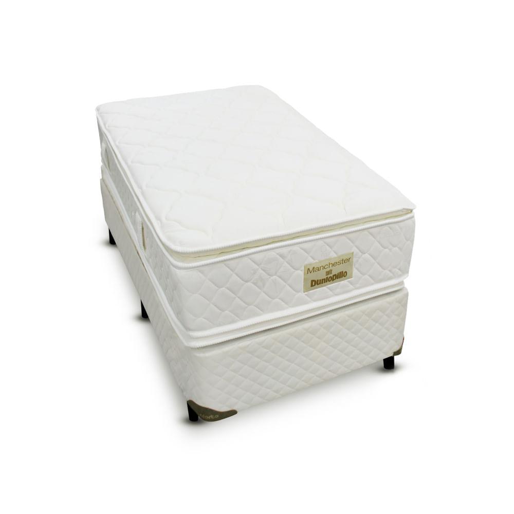 849471bd71 Cama box + Colchão Manchester Solteiro - Molas Ensacadas - Dunlopillo -  088X188 - Solteiro Padrão