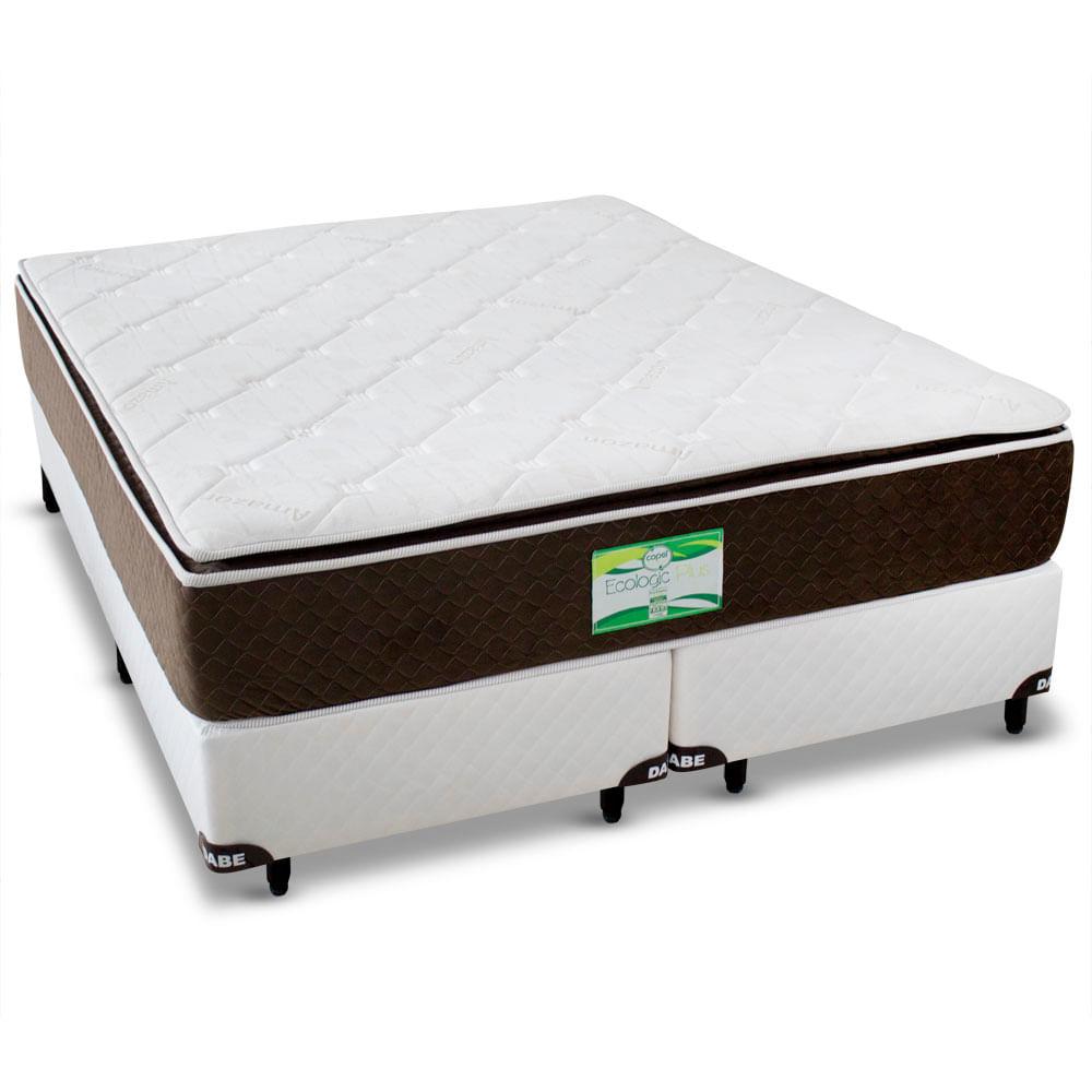 759a46ca6 Cama Box+Colchão QUEEN SIZE Ecologic Plus - Molas Ensacadas - 158x198 - Queen  Size